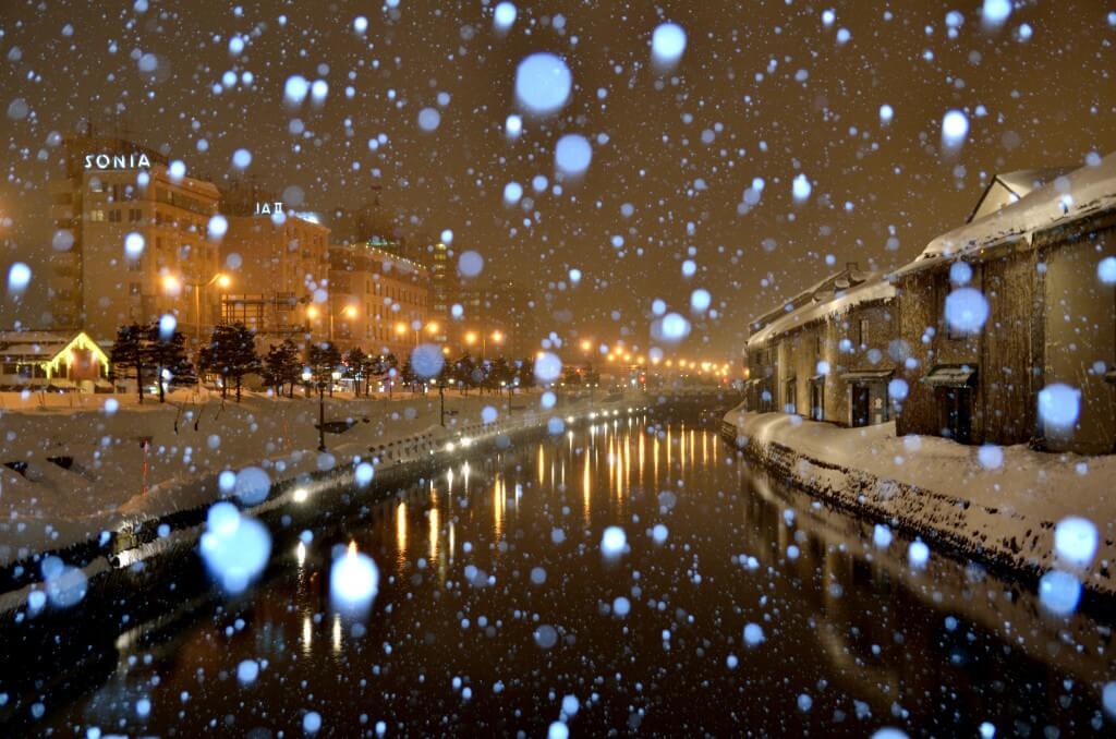 舞っている雪の撮影